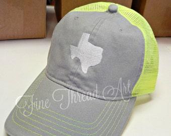 LADIES 2 Inch State Trucker Monogram Mesh Back Baseball Cap Hat Mom Bridesmaid Bride Bachelorette Beach 50 States Louisiana Texas Carolina