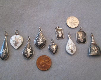 Vintage 1940's Siam Niello Charms> Sterling Silver> Many Designs to Choose From> New old stock, never worn