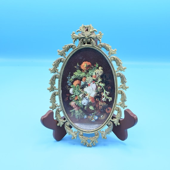 Italy Oval Gold Framed Floral Picture Vintage Italian Small Wild Flowers Oval Hanging Glass Picture Hollywood Regency Gift for Her