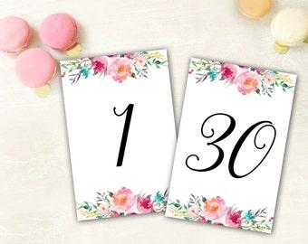Printable Wedding Table Numbers, Reception Table Numbers, Wedding Table Numbers, 4x6 Table Numbers, Floral Table Numbers, Table Numbers 1-30
