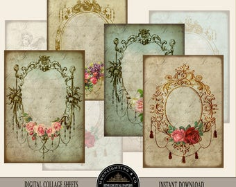 ATC VICTORIAN  FRAMES - Gift Tags, Digital Collage Sheet Printable Instant Download Scrapbooking Greeting cards Shabby Labels Hang tags 507a