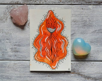 SARIAH / Orange Watercolor Yoni Painting, Vulva Painting, Vagina Painting, Labia, Feminine Art, Fertility Art, Body Positive Art