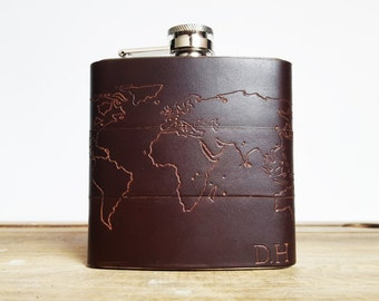 Personalised Travel Hip Flask, atlas custom destination map flask gift travel memento gift for him custom leather flask atlas gift world map