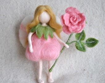 Flower Fairy Waldorf inspired needle felted doll: Rose Fairy