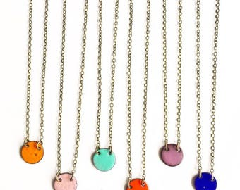 Small Circle Enamel Necklace- choose your color!