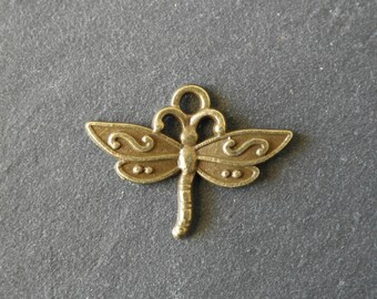 Bronze colour Dragonfly charm 23 mm x 17 mm