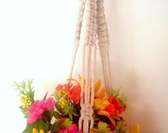 Blue Hanging Planter with Macrame Basket