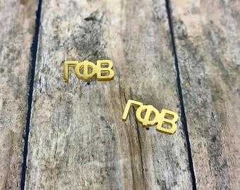 Gamma Phi Beta Sorority Letter Stud Earrings | Sorority Earrings | Gamma Phi Beta Earrings | Gamma Phi Earrings | Sorority Jewelry