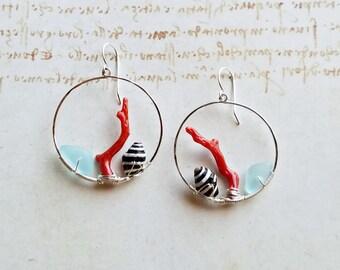 Bright Seashell Hoops, Red Aqua Hoop Earrings, Aqua Beach Glass Hoop Earrings:  Ready Made