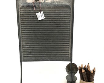 Galvanized Metal Washboard - Vintage All Metal Washboard - Laundry Room Decor - Repurpose Washboard - Wall Hanging - Magnet Board