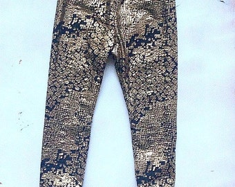 Sparkle Leggings - Gold leggings - Metallic Print Leggings - Baby leggings - ALL SIZES