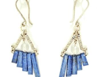 Lapis and Quartz Earrings