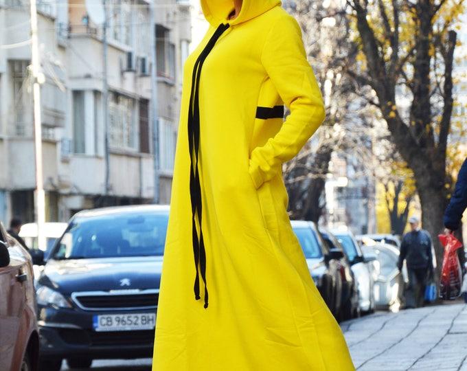 Extravagant Oversized Hooded Dress, Maxi Long Dress, Yellow Kaftan With Cross, Casual Dress Long Sleeve by SSDfashion