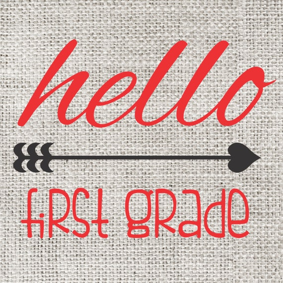 INSTANT DOWNLOAD Hello First Grade Back to School Print Yourself Printable DIY Iron On to Tee T-Shirt Transfer - Digital File