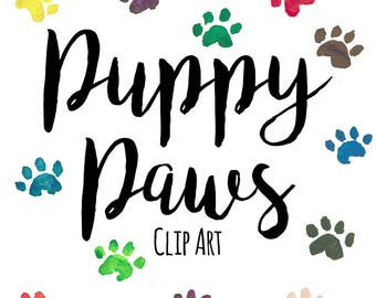 Hand Painted Puppy Dog Paw Print Clip Art, Watercolor Paw Print, INSTANT DOWNLOAD, Rainbow Watercolor Paws, Multicolor Paw Prints, Dog Print
