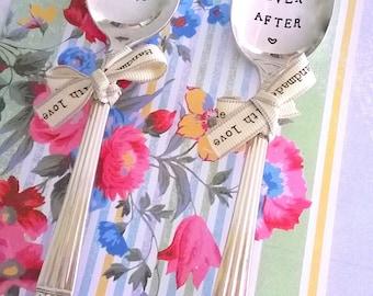 Mr & Mrs Wedding Happily Ever After Set, Vintage Dessert Spoons, Handstamped, Wedding, Marriage, Anniversary