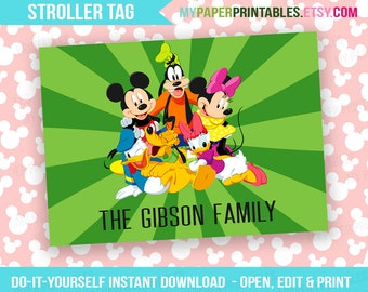 Printable Disney Stroller Tag Editable INSTANT DOWNLOAD Disney World Disneyland Minnie Mouse DIY Kids Stroller Sign Disney Sign Disney trip