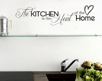 Kitchen Quote Wall Decal Kitchen Is The Heart Of The Home Sticker Kitchen Wall  Decal Kitchen