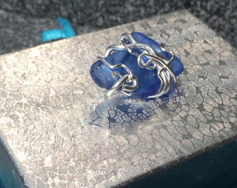 Blue Sea glass pendant wrapped in Silver Wire