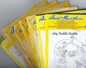 Aunt Martha's® Assortment: Hot Iron Transfer Patterns - Set of 7 Vintage Packages of New/Unopened and Opened/Trimmed Patterns
