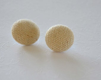 Fabric Buttons - Cream Linen Fabric Covered Buttons
