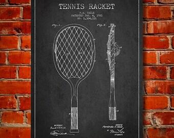 1921 Tennis Racket Patent, Canvas Print,  Wall Art, Home Decor, Gift Idea