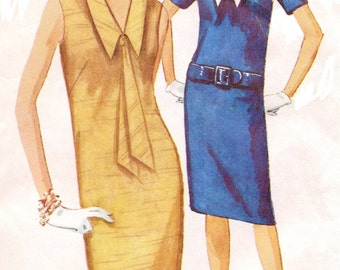 1960s Simplicity Sewing Pattern 5410 Womens One Piece Sleeveless Dress with Detachable Collar Size 16 Bust 36 Vintage Sewing Patterns