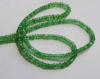 Pack of 2 strand Natural AAAA quality Tsavorite deep color micro faceted rondelles beads size 2.50-3.50mm 2X15-inch strand