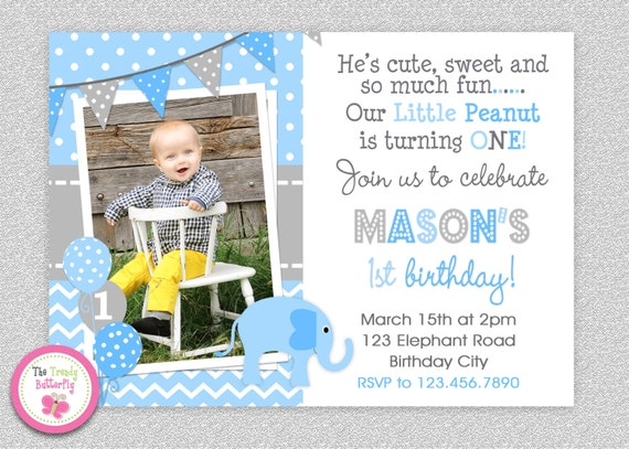 Boys Elephant Birthday Invitation Elephant 1st Birthday