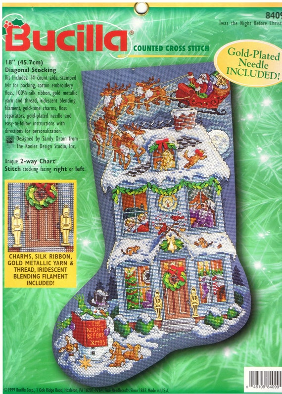 Items similar to Bucilla Counted Cross Stitch Twas The Night Before  Christmas Stocking Holiday Craft Kit 84099 Sandy Orton Dimensions 18