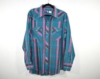90s WRANGLER Cowboy Western Striped Long Sleeve Button Shirt Mens 18 35, Vintage Wrangler Shirt, Vintage Tribal Shirt, Cowboy Shirt