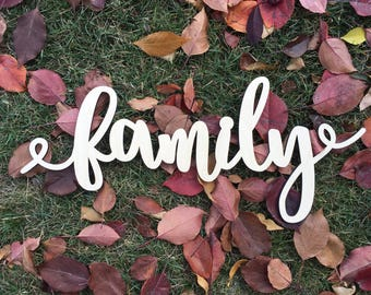 Family, Wood, Sign, Cursive, Script, Wall Decor, Home Decor, Laser,  Cut Out, Unfinished, Love