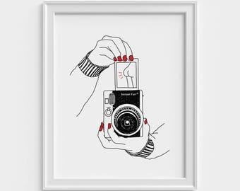 Affiche drôle, illustration, appareil photo vintage, impression d'art