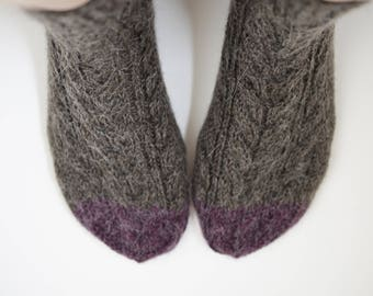 Made of wool and alpaca knitted socks with cables
