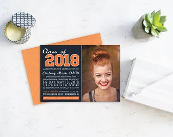 Navy and Orange Graduation Announcement, Class of 2018, Graduation Party Invitation, College Graduation Invitations, Custom Announcements