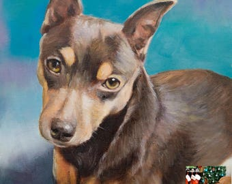 Pet portrait, Custom Pet Painting From your Photo, Oil Painting Portrait ON CANVAS unstretched, (not framed)