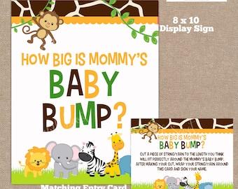 INSTANT DOWNLOAD, Jungle How Big is Mommy's Belly Game, Belly Guessing Game, How Big is Mommy's Belly, Jungle, Safari, #0016
