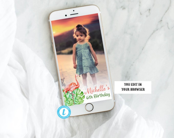 Flamingo Birthday Template Snapchat Geofilter, Flamingo Snapchat, Flamingo Geofilter, Custom Snapchat, Custom Geofilter, Instant Download