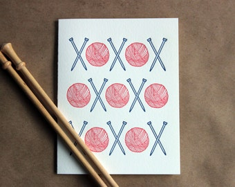 Letterpress Card - knitting love