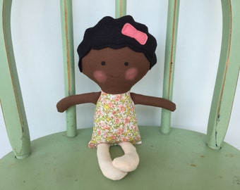 Black, African American handmade rag doll perfect size for small hands.