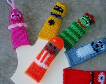 Friendly Monster Finger Puppet Set.  We can create custom orders of individual puppets or puppet sets.
