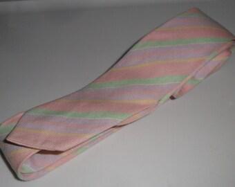 Vintage Neck Tie Skinny Tie Cotton Blend Pastel Stripes
