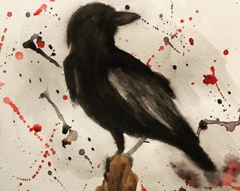 Black and Crimson Watercolor Crow