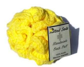 Yellow bath poof, Yellow bath puff, bath poof, bath pouf, scrubby, shower poof, shower pouf, shower puff, crochet pouf, crochet loofah