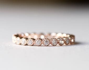 14k Rose Gold Eternity Band, 925 Sterling Silver Ring, Stackable Ring, Wedding Band, Gift For Her