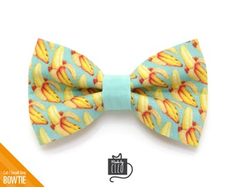 "Cat Bow Tie - ""Banana Appeal"" - Yellow & Mint Banana Cat Collar Bow Tie / Kitten Bow Tie / Small Dog Bowtie / Summer / Removable (One Size)"