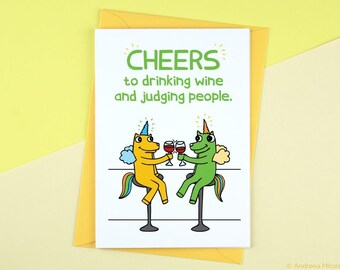 Drinking Wine and Judging People Funny Card, Card for Wine Lover, Best Friend Greeting Card, Funny Gift for Best Friend, Funny Gossip Card