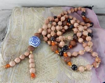 108 Mala Necklace. Mala Prayer Necklace. Juzu Rosary. Prayer Necklace. Meditation Necklace. Ebony Rosewood Bodhi Seed Necklace. Knotted Silk