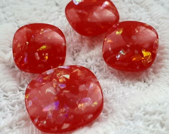 set of 4 13-17 mm vintage glittery red shank buttons