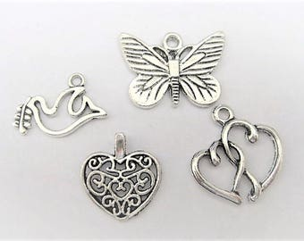 Jewelry Supplies ~ Charms  Tibetan Silver  4 pc  Dove, Heart, Butterfly   Charms  Pendants   (T-5)